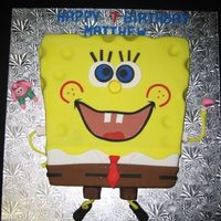 Sponge Bob Square Pant S Chocolate cake & chocolate filling covered in fondant. He took so long to do but I really like the way he turned out.