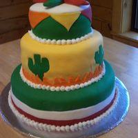 Mexican Fiesta Tiered Cake My first BIG fondant cake - and last! Each layer was 4 layers, everything made from scratch, it took me over 13 hours to make. I made the...
