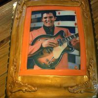 Guilded Elvis Grooms Cake A fun cake. Picking the right photo of Elvis was the toughest part! I had a graphic designer get the image just right for me and then I...