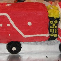 Fire Truck  This was requested for a fireman who was getting married! My first 3-d cake all butter cream. Cake is a chocolate cake with chocolate...