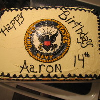 Us Navy chocolate cake with butter cream icing.