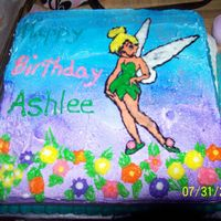 Tinker Bell I made this cake for my daughters 3rd birthday, it is a yellow cake with sprinkles in it, bc frosting and a bc transferr. Flower are bc too...