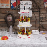 My First Wedding Cake this was the very first wedding cake I have ever done! I had several issues. The bride and groom wanted nothing but buttercream and no...