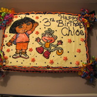 Dora And Boots Dora and Boots for a friends' little girls 3rd birthday. white cake with butter cream icing