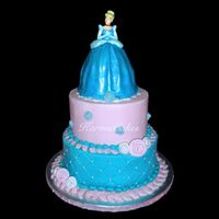 "Princess Cinderella Birthday Cake This was for my daughters 5th birthday, she loves Cinderella! 4"", 6"" and 8""x4 cakes, a cinderella cake topper was used and..."