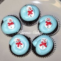 Snowman Cupcakes These were for my daughters christmas party at school. Chocolate cupcakes with vanilla buttercream and fondant decorations. Disco dust for...