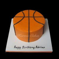 "Adrian's Basketball Birthday Cake Birthday cake for my nephew. 8""x4 white cake with white chocolate cream filling and vanilla buttercream icing. TFL :)"