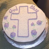 "First Communion 12"" round vanilla with BC cake. First time doing flowers. It was for my neice. My SIL loved it. Thanks for looking - and thanks to all..."