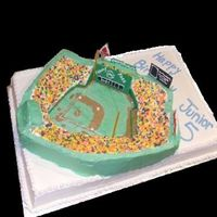 Fenway Park 22x16 sheet cake then a carved fenway park on top. All done in BC with fondant accents and Nerds for the people. Sorry about the photo -...