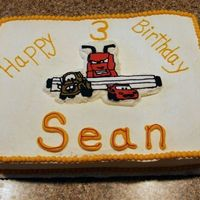 Cars Cake My son wanted his favorite scene from Cars on his cake. Figures it the scene with Frank chasing Mater and Lightning McQueen! This was a...