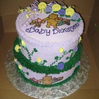 Winnie The Pooh Cake Winnie the Pooh baby shower cake. All buttercream with chocolate transfer.