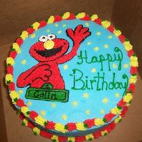 Collin's Cake Elmo cake butter cream icing and decoration, Elmo was free handed