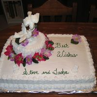 "Silk Flowers This is the first cake I've done with silk flowers. I love the ""kissing birds""."