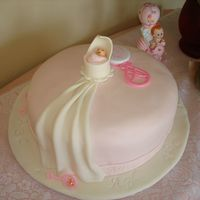 Hush Little Baby Is was was a 12 in round, Sock It to Me cake, (my version) with coconut flavored pink MMF. Cradle, Drape and Baby all made of gumpaste-...