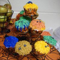 Monster Cupcakes Decorated with buttercream using the grass tip