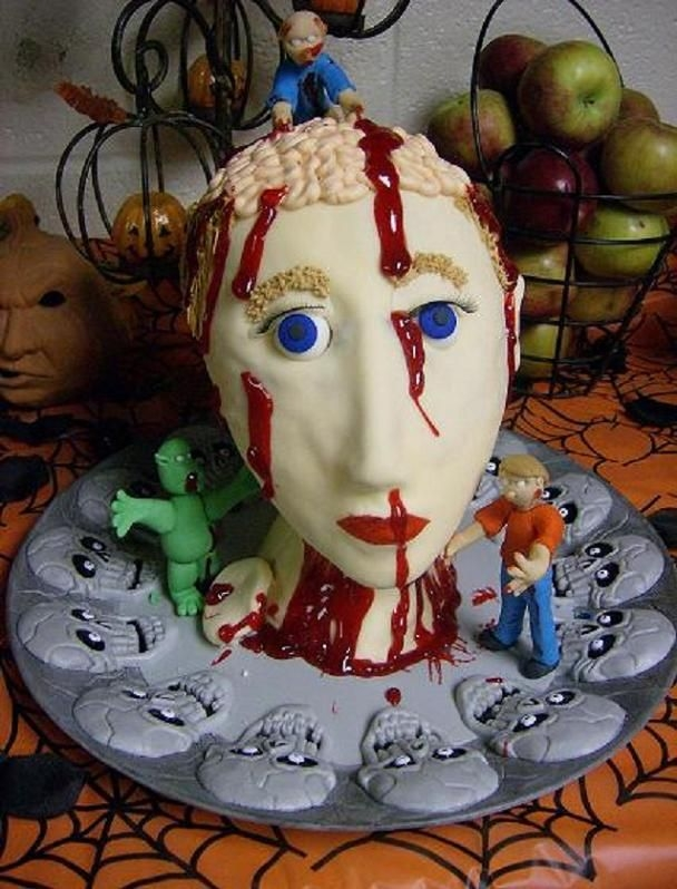 Severed Head Styrofoam from the nose down then cake from the nose up. Covered in Fondant. Decorated with Buttercream and piping gel