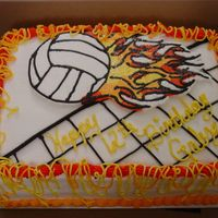 Volleyball Birthday Cake This is a qtr sheet double layer chocolate cake with chocolate mousse filling. The volleyball with flames was by request and is a FBCT. I...