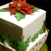"Christmas Cake buttercream with candy melt dots, holly, berries and pointsettia6"" + 8"" squares"