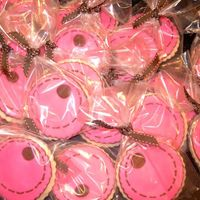 Maddy Cookies birthday favour cookies to go with the Maddy CakeNFSC with MMF (pink) and RI (brown)