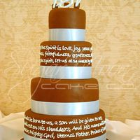 "Vivan + Brad 4,6,8 + 10"" roundsall 4"" highMMF with royal icing writing & topperwrapped in ribbon"