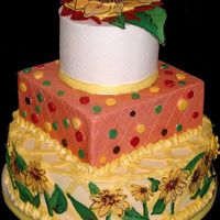 "Sonechko for a 50th birthday - all buttercream with candy melt sunflowers, leaves and dots6"" round, 8"" square + 12"" round"