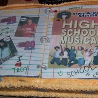 High School Musical I made this cake for my niece, she's turning 6. Everything edible. Notebook made from fondant. edible photos and edible markers.