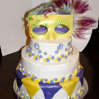 28600003.jpg Each tier a different cake w/ different filling. gumpaste mask's. Fondant accents. it was a alot more work then I thought. Got the...