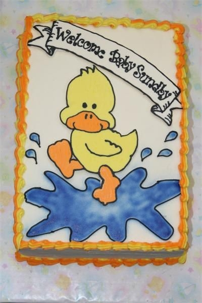 Duck Baby Shower 9x13 torted into 4 layers, FBCT for duck and banner, airbrush puddle. I covered the cake board with wrapping paper and then clear contact...