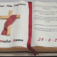 Deacon Tim's Ordination Missal  Cake made for a Deacon's ordination. Inspired by the many book cakes here on CC, but in particular cakedout's wonderful open...
