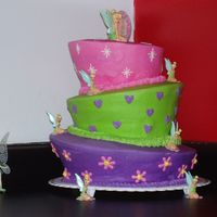 Tinkerbell Topsy Turvy All BC with tinkerbell cupcake toppers on sides..