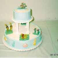 Noah's Ark Baby Shower All BC, the animals on the top of the bottom later were a last minute addition when the cake was being delivered. I was not aware the the...