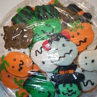 Halloween Cookie Platter pumpkins, witch, frankenstein, bride of frankenstein, werewolf, Dracula, mummy and ghost