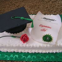 Congrats Graduate  I used another pic from this site and figured out how to do it myself. This is a carrot cake with buttercream frosting. The cap is a half-...
