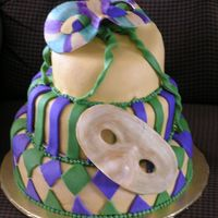 Mardi Gras Birthday  This is my first topsy-turvy cake. It is covered in fondant. The bottom tier is chocolate and the top two layers are yellow butter. The...