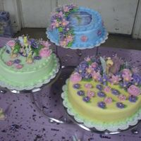 Tinkerbell Birthday Cake  I did this cake for my granddaughter's 6th birthday. It was 3 separate cakes displayed on the Wilton 3-Tier Party Stand. They were all...
