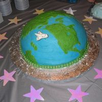 Mother Earth  Blake's 1st Birthday cake - the theme was 'space' and the cake was baked in a 14 x 2 round pan topped with a cake baked in...