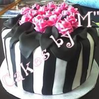 "Black, White And Pink All Over  Inside: 3 layer 9"" Dk chocolate cake, hot pink swiss meringue. Thought that would be very pretty when you cut into it! Fondant with bc..."