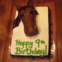 Mare For 9 Yo Birthday  Thanks to the folks on this site, I was able to adapt a cake to respond to a horse lover's dream. Triple chocolate cake with chocolate...