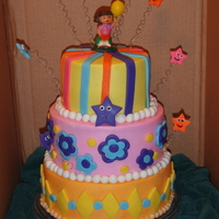 Dora 3-Tier For 2Nd B'day As near a copy of HickChick1013's cake as I could do in Buttercream with fondant accents. Thank you!