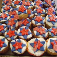 Star Spangled Cupcakes   Vanilla butter cupcakes with BC, fondant stars, and sparkles. Big hitfor the BarBQ!
