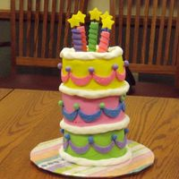 Birthday Cake Fun - Whimsical, Almost Topsy Turvy Pretty much straight from Wilton book. I was asked to recreate this cake for an event to honor the chairperson's brithday. We did 6&...