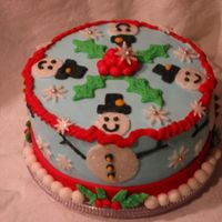 Snowmen And Holly For good friends I have been wanting to make a special occasion cake for. Chocolate cake with crushed candy cane/bc filling. BC and fondant...