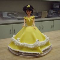 Belle Doll Cake  My daughter's 'new' favorite princess is Belle, so this was the school cake for her 5th birthday. Confetti cake with BC and...