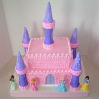 Princess Castle For my youngest daughter's 4th birthday. Half sheet cake on bottom, cut in half and stacked, each layer torted. Top layer is 9x13 cut...