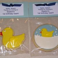 1St Birthday Cookie Favors These were cookie favors for a little boy's first birthday party. The birthday was obviously a rubber duck theme. Butter cookies with...