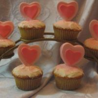 Sweetheart Cupcakes Almond cupcakes with almond buttercream frosting. The hearts are made from marshmallow fondant. I'm normally not a big fan of heart-...