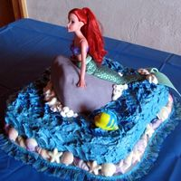 Little Mermaid Ariel Cake This was for my daughter's birthday. She wanted Ariel with Flounder and Sebastian (he's on the other side of the rock). The rock...