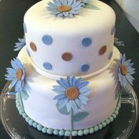 Blue & Brown Daisy Cake This was one of those cakes that didn't want to cooperate! It was for a blue & brown polka dot theme at a baby shower. Daisies on...