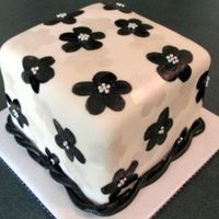 Painted Cake Handpainted pearl & black flowers w/ silver dragees. All fondant.