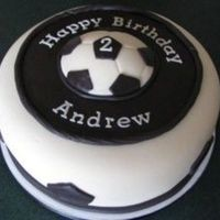 "Soccer Cake For Child's 2Nd Birthday The mom asked for a black and white 9"" cake with a soccer theme. Butter cake with vanilla buttercream. All decorations are rolled..."